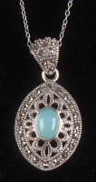 Silver Marcasite & Blue Chalcedony Pendant at PristineAuction.com