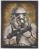 "David Lizanetz Orignal ""Star Wars"" Stormtrooper 16x20 Canvas Inscribed ""Blast Em!"" with 1978 Marvel ""Star Wars"" Comic Book at PristineAuction.com"