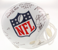 2,000-Yard Rushers Club NFL Logo Full-Size Helmet Signed by (7) with Barry Sanders, O.J. Simpson, Adrian Peterson with (7) Yard Total Inscriptions (Schwartz COA & Radkte COA) at PristineAuction.com