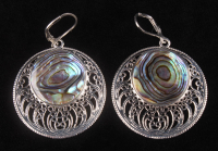 Sterling Silver Abalone Openwork Disc Drop Earrings at PristineAuction.com