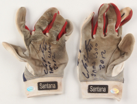 """Carlos Santana Signed Pair of (2) Game-Used Lousiville Slugger TPX Baseball Gloves Inscribed """"Game Used 2012"""" & """"Dios"""" (Hollywood Collectibles COA) at PristineAuction.com"""