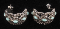 Silver Amazonite & Marcasite J Hoop Earrings at PristineAuction.com