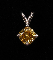 14kt White Gold Ladies Fancy Yellow Cushion Brilliant .52 CT Diamond Pendant at PristineAuction.com
