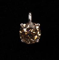 Platinum Ladies Fancy Light Brown Round Brilliant 1.01 Ct Diamond Pendant (UGL Appraisal) at PristineAuction.com