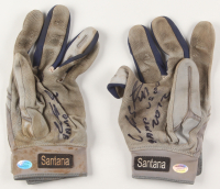 "Carlos Santana Signed Pair of (2) Game-Used Lousiville Slugger TPX Baseball Gloves Inscribed ""Game Used 2012"" & ""Dios"" (Hollywood Collectibles COA) at PristineAuction.com"