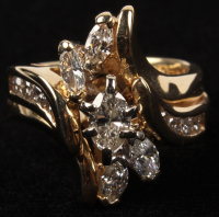 14Kt. Yellow Gold Ladies Marquise Cut Diamond Wedding Ring (UGL Appraisal) at PristineAuction.com