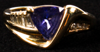 14Kt. Yellow Gold Ladies Cast Tanzanite & Diamond Ring at PristineAuction.com