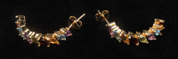 18K Gold Over Silver Multi Gemstones Hoop Earrings at PristineAuction.com