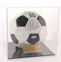 Pele Signed Vintage Soccer Ball with Display Case (PSA COA) at PristineAuction.com