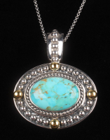 Sterling Silver Turquoise Gold Bead Accent Pendant at PristineAuction.com