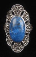 Sterling Silver Lapis & Marcasite Frog Ring at PristineAuction.com