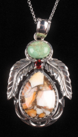 Silver Spiny Oyster & Turquoise Leaf Pendant at PristineAuction.com