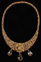 22Kt Yellow Gold Plated 123.60 CT Smokey Quartz Ruby & Multi-Color Sapphire Necklace (UGL Appraisal) at PristineAuction.com