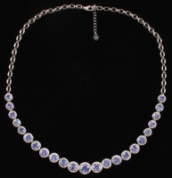 Sterling Silver Ladies 12.8 CT Tanzanite & White Zircon Necklace (UGL Appraisal) at PristineAuction.com