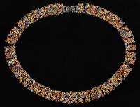 Silver Multi-Color Ladies 80 CT Sapphire Necklace (AIG Appraisal) at PristineAuction.com