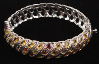 Sterling Silver Ladies MultiColor 13 CT Sapphire Bangle Bracelet at PristineAuction.com