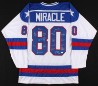 Team USA Jersey Team-Signed by (17) with Jim Craig, Mike Eruzione, Ken Morrow (Schwartz COA) at PristineAuction.com
