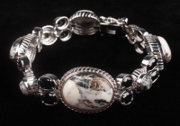"Silver White Buffalo & Spinel 6.7"" Bracelet at PristineAuction.com"