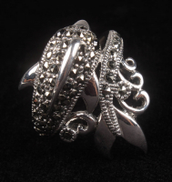 Silver Genuine Marcasite Dolphin Ring at PristineAuction.com