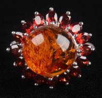 Sterling Silver Amber & Garnet Flower Ring at PristineAuction.com