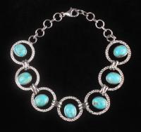 "Silver Kingman Turquoise Link 9.25"" Bracelet at PristineAuction.com"