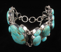 """Sterling Silver Turquoise Toggle 8"""" Bracelet at PristineAuction.com"""