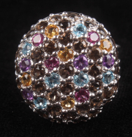 Silver 3.42ctw Pave Multi Gemstone Button Ring at PristineAuction.com