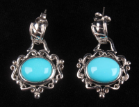 Silver Sleeping Beauty Turquoise Scroll Earrings at PristineAuction.com