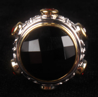 Silver Checkerboard Black Onyx Cocktail Ring at PristineAuction.com