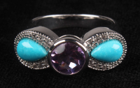 Sterling Silver Turquoise & Amethyst Bow Ring at PristineAuction.com