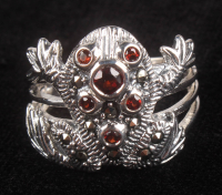 Sterling Silver Garnet & Marcasite Frog Ring at PristineAuction.com