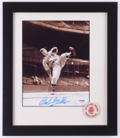 Bob Feller Signed Cleveland Indians 13x15 Custom Framed Photo Display with Original 1954 World Series Pin (PSA COA) at PristineAuction.com