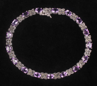 """Sterling Silver Amethyst & Marcasite Line 7.5"""" Bracelet (Imperfect) at PristineAuction.com"""