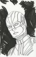 "Tom Hodges - Captain Marvel - Marvel Signed ORIGINAL 5.5"" x 8.5"" Color Drawing on Paper (1/1) at PristineAuction.com"