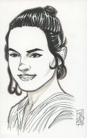 """Tom Hodges - Rey - """"Star Wars"""" Signed ORIGINAL 5.5"""" x 8.5"""" Drawing on Paper (1/1) at PristineAuction.com"""
