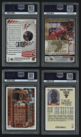 Lot of (4) PSA 8 Graded Michael Jordan Basketball Cards with 1997-98 Collector's Choice #186 Catch 23 Fast Break, 1995-96 Collector's Choice Jordan Collection #JC1 1985 NBA ROY, 1996-97 Topps #139 & 1989-90 Hoops #200 at PristineAuction.com