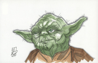"""Tom Hodges - Yoda - """"Star Wars"""" - Signed ORIGINAL 5.5"""" x 8.5"""" Drawing on Paper (1/1) at PristineAuction.com"""