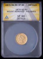 1876 $2.50 Liberty Head Gold Quarter Eagle Gold Coin (ANACS VF30 Details) at PristineAuction.com