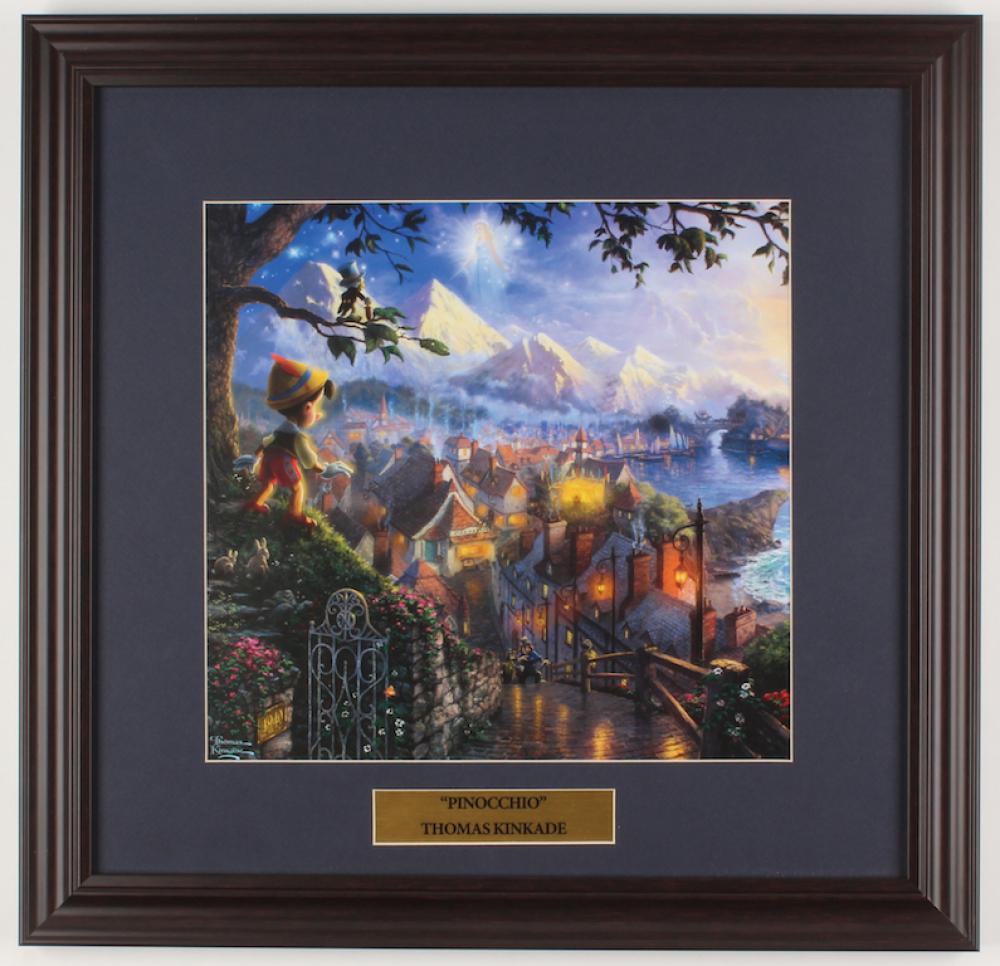 "Thomas Kinkade Walt Disney's ""Pinocchio"" 18x18.5 Custom Framed Print Display at PristineAuction.com"