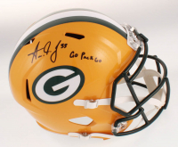 """Aaron Jones Signed Green Bay Packers Full-Size Speed Helmet Inscribed """"Go Pack Go"""" (Beckett COA) at PristineAuction.com"""