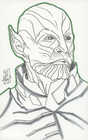 "Tom Hodges - Skrull - Talos - Marvel Signed ORIGINAL 5.5"" x 8.5"" Color Drawing on Paper (1/1) at PristineAuction.com"