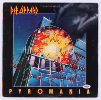 "Def Leppard ""Pyromania"" Vinyl Record Album Band-Signed by (5) with Phil Collen, Rick Allen, Rick Savage, Joe Elliott, & Steve Clark (PSA LOA) at PristineAuction.com"