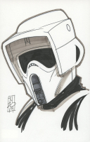 "Tom Hodges - Biker Scout Stormtrooper - ""Star Wars"" - Signed ORIGINAL 5.5"" x 8.5"" Drawing on Paper (1/1) at PristineAuction.com"