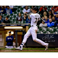 "Christian Yelich Signed Milwaukee Brewers 16x20 Photo Inscribed ""18 NL MVP"" (MLB Hologram & Fanatics Hologram) at PristineAuction.com"