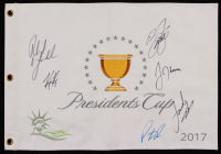 2017 Presidents Cup Golf Pin Flag Signed by (6) with Phil Mickelson, Patrick Reed, Jordan Speith, Rickey Fowler, Justin Thomas, & Kevin Kisner (JSA ALOA) at PristineAuction.com