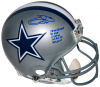 Emmitt Smith Signed Dallas Cowboys Full-Size Authentic On-Field Helmet with Multiple Career Stat Inscriptions (Beckett COA) at PristineAuction.com
