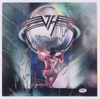 "Van Halen ""5150"" Vinyl Record Album Cover Band-Signed by (4) with Eddie Van Halen, Alex Van Halen, Sammy Hagar, & Michael Anthony (PSA LOA) at PristineAuction.com"