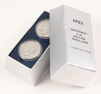 Set of (2) 1922 Peace Silver Dollars with Case at PristineAuction.com