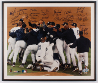 1999 New York Yankees World Series Champion 22.75x26.75 Custom Framed Print Display Signed by (29) with Derek Jeter, Joe Torre, Mariano Rivera, Paul O'Neill, Roger Clemens, Jorge Posada, Andy Pettitte (JSA LOA) at PristineAuction.com