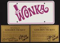 "Lot of (3) ""Willy Wonka & The Chocolate Factory"" Items with (2) Signed Wonka's Golden Tickets & (1) ""Wonka"" License Plate (JSA COA & Themmen COA) at PristineAuction.com"